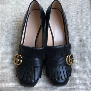 Gucci Marmont Heeled Loafers Black Worn Once 36.5